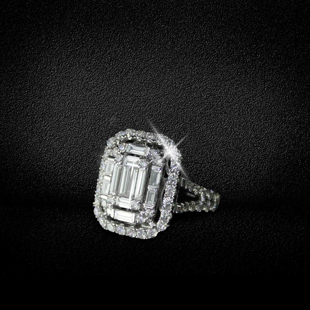Huge Rectangle Diamond Ring